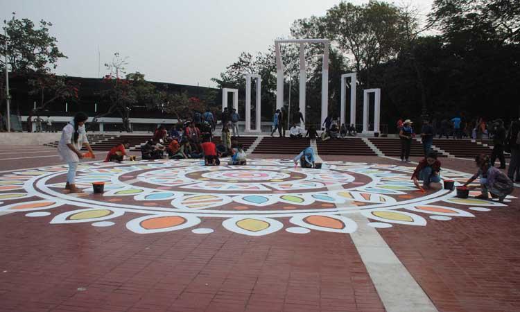 আন্তর্জাতিক মাতৃভাষা দিবস উপলক্ষে প্রস্তুত হচ্ছে কেন্দ্রীয় শহীদ মিনার
